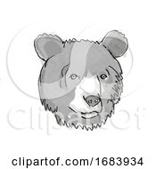 Poster, Art Print Of Asiatic Black Bear Endangered Wildlife Cartoon Retro Drawing