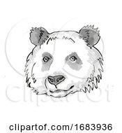 Giant Panda Endangered Wildlife Cartoon Retro Drawing