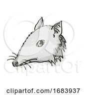 Long Nosed Bandicoot Endangered Wildlife Cartoon Retro Drawing