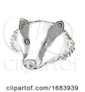Eurasian Badger Cartoon Retro Drawing