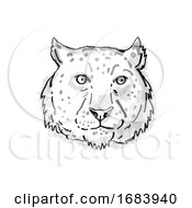 Snow Leopard Endangered Wildlife Cartoon Retro Drawing