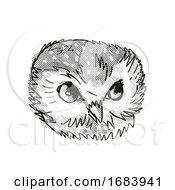 Poster, Art Print Of Northern Saw-Whet Owl Head Cartoon Retro Drawing