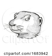 Prairie Dog Endangered Wildlife Cartoon Retro Drawing