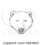 Polar Bear Cartoon Retro Drawing