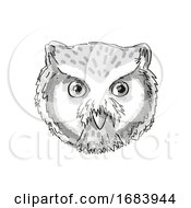 Northern White Faced Owl Head Cartoon Retro Drawing