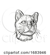 10/13/2019 - Oncilla Or Northern Tiger Cat Endangered Wildlife Cartoon Retro