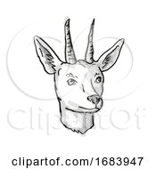 10/13/2019 - Mountain Reedbuck Endangered Wildlife Cartoon Retro Drawing