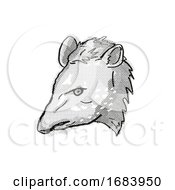 10/13/2019 - Tapir Endangered Wildlife Cartoon Retro Drawing