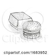 Poster, Art Print Of Hamburger Meal Cartoon Retro Drawing