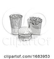 Poster, Art Print Of Hamburger Small Fries And Soft Drink Cartoon Retro Drawing
