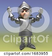 3d Armoured Medieval Knight Cheers With Heraldic Joy 3d Illustration