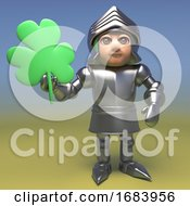 3d Cartoon Armoured Medieval Knight Holding A Shamrock Clover Lead 3d Illustration