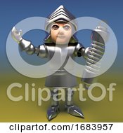 3d Armoured Medieval Knight Character Holding A Shock Absorber Suspension Unit 3d Illustration