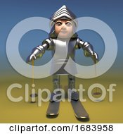 3d Cartoon Medieval Armoured Knight Skiing On Gold Skis 3d Illustration