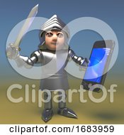 3d Cartoon Medieval Armoured Knight Holding A Sword And Smartphone Tablet Device 3d Illustration