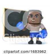 3d Black Boxer Stands At The Blackboard