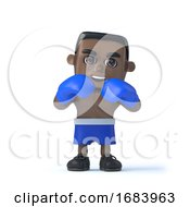 3d Black Boxer Is Ready To Fight