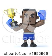 3d Black Boxer Holds Up A Gold Cup Trophy