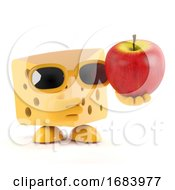 3d Swiss Cheese Holds An Apple