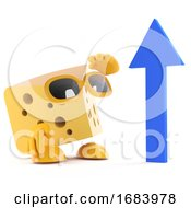 3d Cheese Character With Arrow