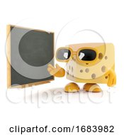 Poster, Art Print Of 3d Cheese Teaches At The Blackboard