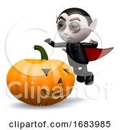 Poster, Art Print Of 3d Dracula Pumpkin