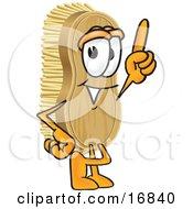 Scrub Brush Mascot Cartoon Character Pointing Upwards