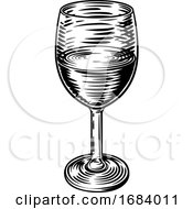 10/14/2019 - Wine Glass Vintage Woodcut Etching Engraving