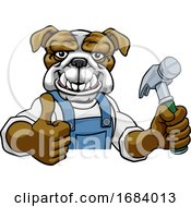 Poster, Art Print Of Bulldog Carpenter Handyman Builder Holding Hammer