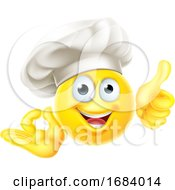 Poster, Art Print Of Emoji Chef Cook Cartoon Ok Thumbs Up