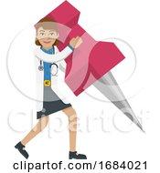 Doctor Woman Holding Thumb Tack Pin Mascot Concept