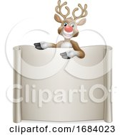 Reindeer Christmas Scroll Sign Cartoon