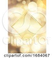Glittery Gold Frame On A Bokeh Lights Background