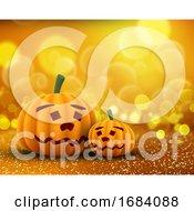3D Cute Pumpkins On A Glittery Bokeh Lights Background