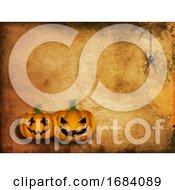 Grunge Halloween Background With Pumpkins And Spider