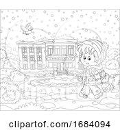 10/14/2019 - Boy Walking To School On A Winter Day