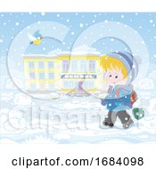 Poster, Art Print Of Boy Walking To School On A Winter Day