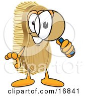 Clipart Picture Of A Scrub Brush Mascot Cartoon Character Looking Through A Magnifying Glass