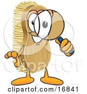 Scrub Brush Mascot Cartoon Character Looking Through A Magnifying Glass