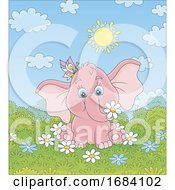 Baby Elephant With A Butterfly And Spring Flowers