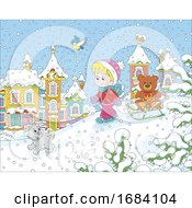 Poster, Art Print Of Boy And Puppy Playing In The Snow
