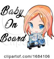 Poster, Art Print Of Manga Girl With A Baby On Board
