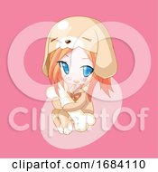 Poster, Art Print Of Manga Girl In A Puppy Costume Hugging A Bone