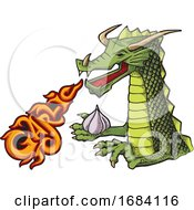 Cartoon Dragon With Fiery Garlic Breath
