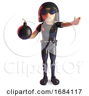 Poster, Art Print Of 3d Goth Girl In Fashion Catsuit Holding A Gunpowder Bomb 3d Illustration