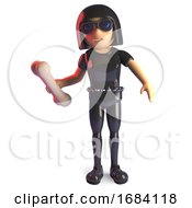 3d Goth Fashion Girl In Latex Catsuit Holding An Animal Bone 3d Illustration