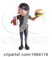 3d Goth Girl In Latex Catsuit Eating A Cheeseburger And Drinking A Glass Of Cola 3d Illustration