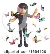 3d Fashion Goth Girl In Leather Catsuit Surrounded By Butterflies 3d Illustration
