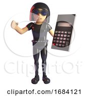 Poster, Art Print Of 3d Goth Fashion Girl In Leather Catsuit Holding A Digital Calculator 3d Illustration