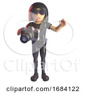 3d Goth Fashion Girl In Leather Catsuit Taking A Photo With An SLR Camera 3d Illustration